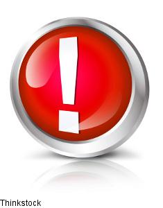 Roter Button Ausrufezeichen