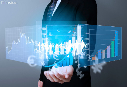 Finanzen - Banker mit Statistiken